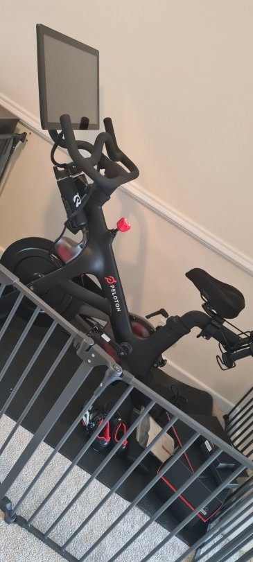 So excited our Peloton bike has arrived we can't wait to get started